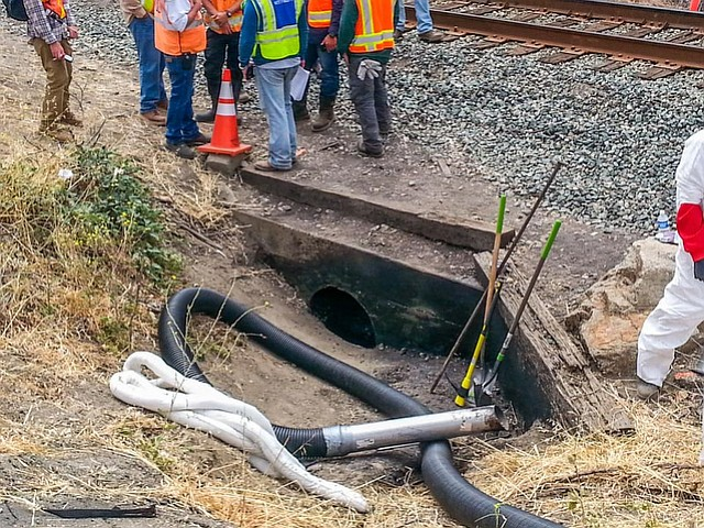 Oil oozed through this culvert below the highway and railroad tracks