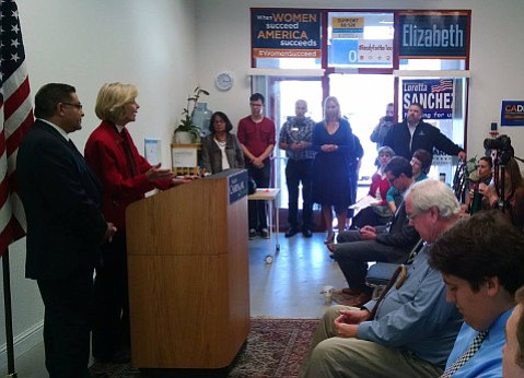 Representative Lois Capps endorses County Supervisor Salud Carbajal for the 24th Congressional District in San Luis Obispo on Sunday.