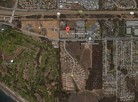The CHP facility proposed for 7780 Hollister Avenue sits amid The Bluffs and The Hideaway; the latter was in its beginning stages in this aerial.