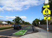 A green lane on Cathedral Oaks makes the road safer for motorists, cyclists and pedestrians