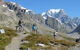 Mountain biking in the French Alps at Col de la Seigne
