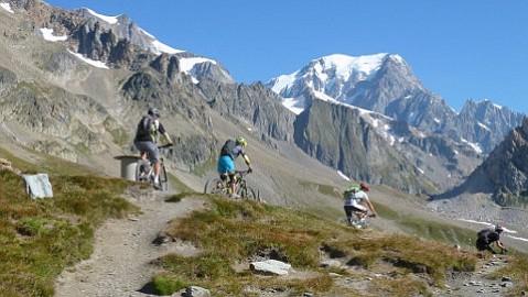 Mountain biking in the French Alps at Col de la Seigne