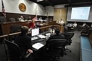 A technical committee discusses desal technology and recycled sewage water at City Hall. (Aug. 5, 2015)