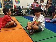 Five-year-old Dylan is ready to learn at his transitional kindergarten class at Harding Elementary School.