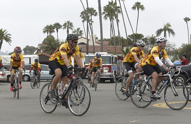Fire Velo riders leave Santa Barbara East Beach headed to Oxnard. (Aug. 21, 2015)