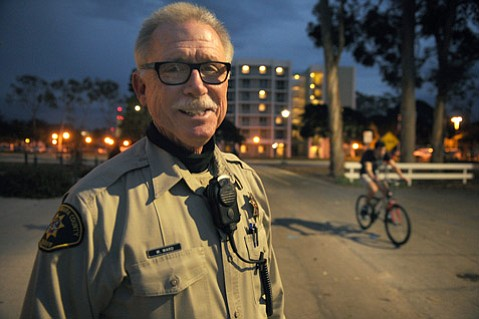 Isla Vista Foot Patrol's Deputy Mark Ward, now retired, was one of the first Sheriff's deputies to test the video camera devices.