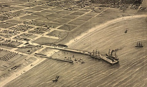 Published the same year Stearns Wharf was completed (the longer wharf pictured above), E. N. Wood's guidebook was the first book published in Santa Barbara.