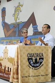 State Senator Hannah-Beth Jackson and former Los Angeles Mayor Antonio Villaraigosa at Casa De La Raza.