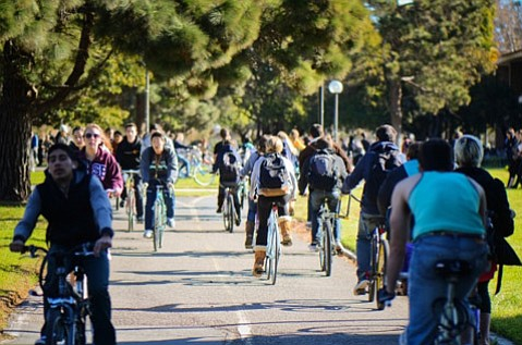 Riding bikes is one of many ways UCSB students can reduce their carbon footprint.