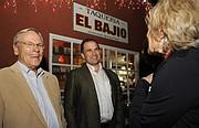 Jason Dominguez (center) celebrates election night with City Councilman Bendy White at El Bajio (Nov. 3, 2015)