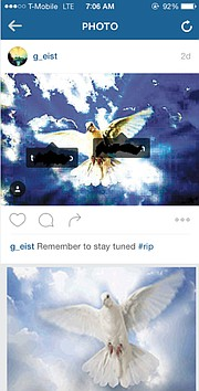 The photo and caption posted by Schulte to Instagram (top), and the Sandy Hook Angels Fund dove.