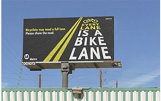 LA Metro reminds drivers that California law lets bicycle riders take a full lane when safety requires it.