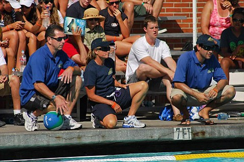 Cathy Neushul (center front), former head coach of UCSB's women's water polo team, has filed suit alleging Title IX discrimination and retaliation by the UC in her demotion.