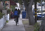 Biking on the sidewalk along Micheltorena Street may also prove dangerous to cyclists and unsuspecting pedestrians and drivers.