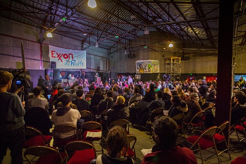 Exxon was put on mock trial in Montreuil before an audience of environmentalists.