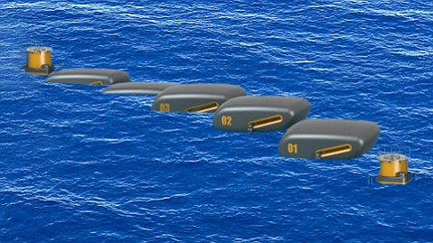"""Dehlsen Associates, developers of the wave-energy-generating Centipod that uses 30-foot buoys to drive generators in a submerged """"backbone"""" structure, recently won a large government award."""