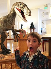 <strong>FRIGHTFUL FUN:</strong> Nikita Gruzdev is wowed by the velociraptor.