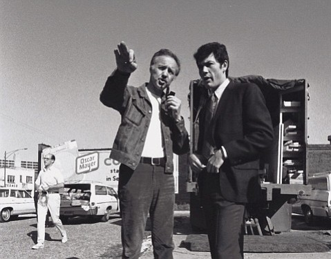 Haskell Wexler earned Academy awards and Cannes recognition during his career as a cinematographer, director, producer, writer, and documentary maker. Here he's on set with Robert Forster during the making of his film <em>Medium Cool</em> in 1968.