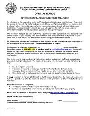 CDFA notification of pending spraying