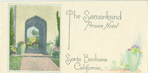 A pamphlet advertises the Samarkand Hotel in the early 1920s.