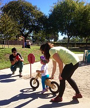 Learning to ride on a balance bike