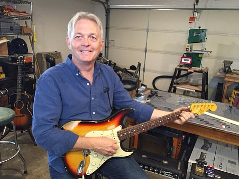 Tom Kelley makes ringin' electric guitars in his Goleta garage and kitchen.