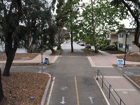 Walking or biking east out of Isla Vista drops immediately onto UCSB's main campus.