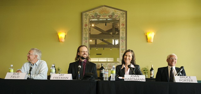 Wednesday's 3rd District County Supervisor Candidate Forum at Glen Annie Golf Club brought all the candidates to the table: Bob Field (left), Jay Freeman, Joan Hartmann, and Bruce Porter.