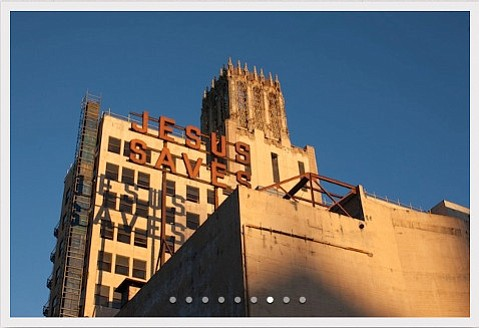 A view behind the Ace Hotel in downtown Los Angeles