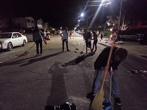 In 2014, students cleaned up Isla Vista after a disruptive Deltopia.