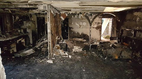 A unit was destroyed by an accidental fire at a condo complex near State and Alamar early this morning.