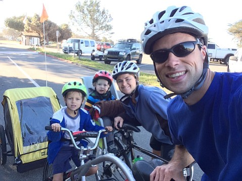Bridges's family gets everyone out on wheels during a bike camping trip.