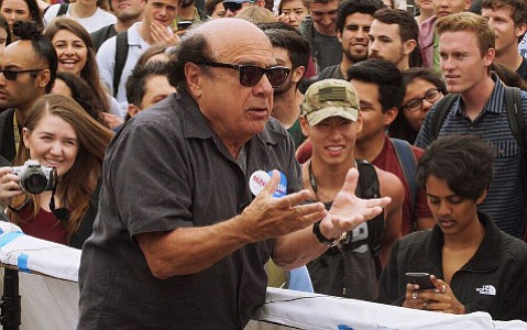 Danny DeVito stumps for Bernie Sanders at UCSB Tuesday afternoon.