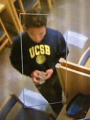 UCSB police ask the community's help locating this man suspected of peeping in a women's bathroom.