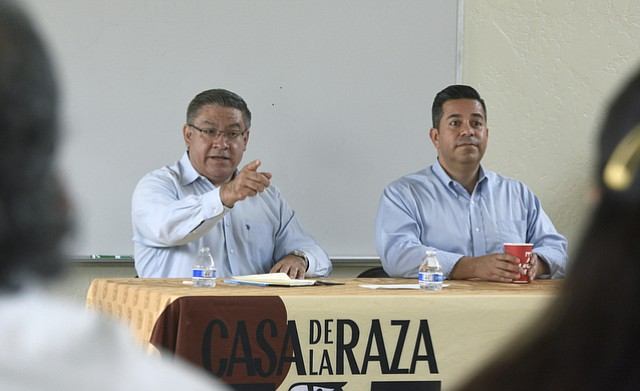 Santa Barbara County Supervisor Salud Carbajal (left) and New Mexico Congressmember Ben Ray Luján held a roundtable discussion at Casa de la Raza on increasing Latino voter participation.