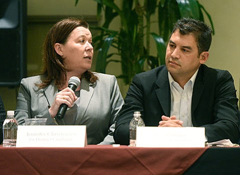 The Santa Barbara Chamber of Commerce's intent to endorse Das Williams (right) in the race for 1st District County Supervisor set off a writing campaign by supporters of his opponent, Jen Christensen; both are pictured here at an April forum.