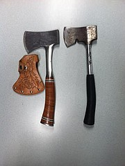 Two axes wielded by the suspect
