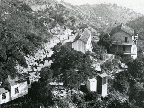 Montecito's hot springs resort perched precariously on a hillside around 1880.