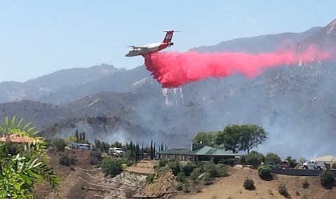 A jet air tanker was among the immediate fire responders to an afternoon fire Saturday in the upper reaches of Mission Canyon.