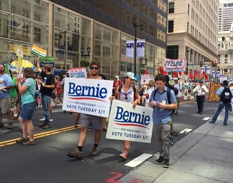 Bernie supporters march to make their positions heard in Philadelphia on Sunday.