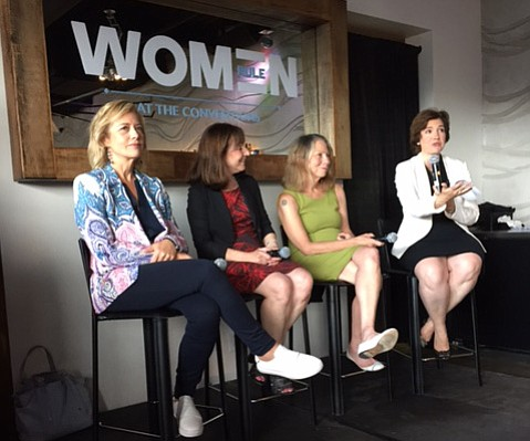 At a discussion on women and politics, speakers included Hilary Rosen (left), a commentator from CNN; Jane Mayer, an investigator reporter for the <em>New Yorker</em>; Jill Abramson, past executive editor of the <em>New York Times</em>; and Susan Glasser, who led the discussion, editor with <em>Ms.</em> magazine.
