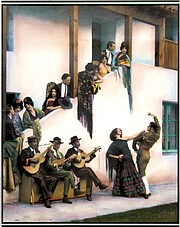 TABLEAU VIVANT ON SUNDAY: This photograph, from the Santa Barbara Historical Museum's collection that was handtinted by Peggy Lindt in 1989, will come to life and bring Fiesta to a close this weekend at El Paseo.