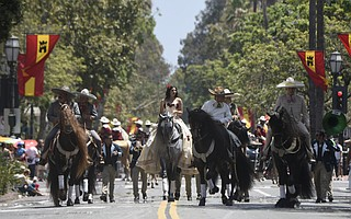 The 92nd anniversary of the Fiesta Historical Parade featured floats 600+ horses depicting episodes from the history of the Santa Barbara and California by descendants of local Native Americans, Spanish Pioneers, the Native Sons and Daughters of the Golden West, and local service clubs and organizations.