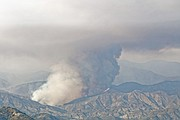 Closeup view of the fire after it crossed Mono Creek and headed east.