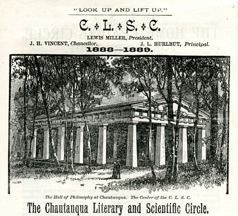Santa Barbara's Chautauqua Literary and Scientific Circle was associated with the morally uplifting Chatauqua movement, which eventually became traveling groups that presented programs of lecture, music, and dramatic performance nationally.