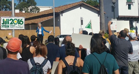 Presidential candidate Jill Stein rallied Green Party supporters in Santa Barbara on Saturday.