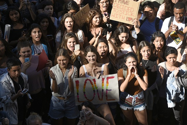 Santa Barbara High School students rallied for the people who will be detrimentally affected by president-elect Donald Trump's alt-right policies.