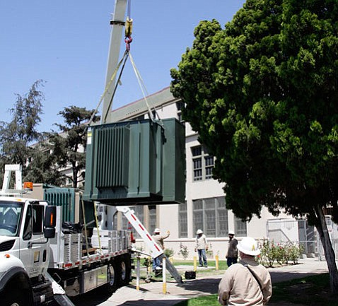 Eight aboveground transformers, similar to this one being installed in Los Angeles, will soon appear throughout downtown Santa Barbara.