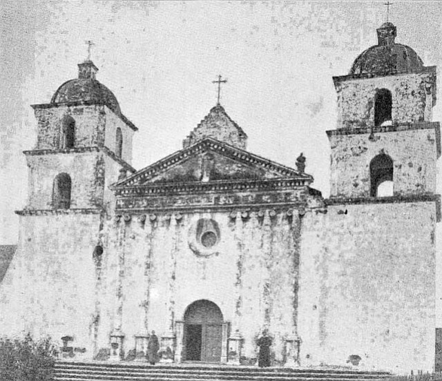 The naming of Santa Barbara's Mission, seen here in 1870, is connected to a Spanish explorer who survived a winter storm offshore on the saint's feast day.