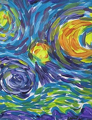 "<b>ART SUPPORT: </b> Attendees can purchase pieces such as ""Starry, Starry Night"" by artist David Peterson."